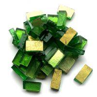 Gold Smalti on Green Glass