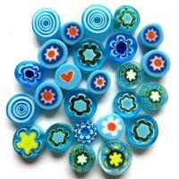Fused Millefiori: Turquoise 7-13mm