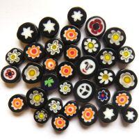 Fused Millefiori: Black 7-13mm