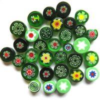 Fused Millefiori: Green 7-13mm