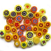 Fused Millefiori: Yellow 7-13mm