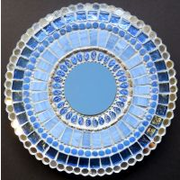 20cm Round Mirror: Blue Blossom**